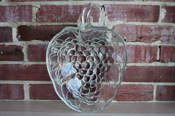"Indiana Glass Co. (Indiana, USA) 13"" Clear Glass Grape Cluster Fruit Bowl"