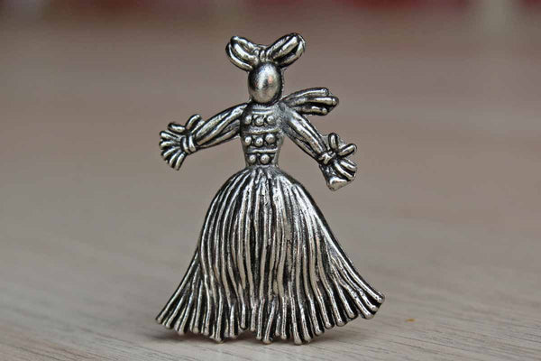 Pewter Female Corn Husk Doll Brooch