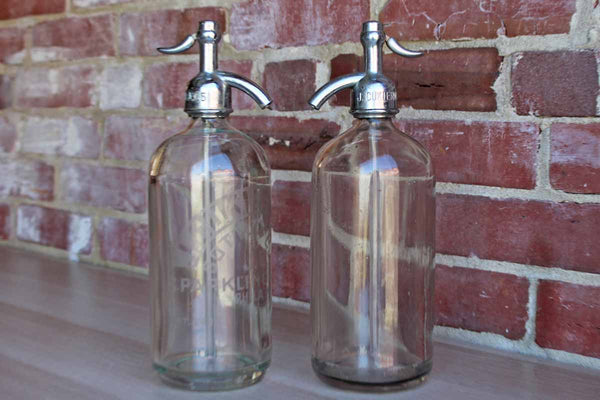 Decorative Old Glass and Chrome Siphon Seltzer Bottles, A Pair