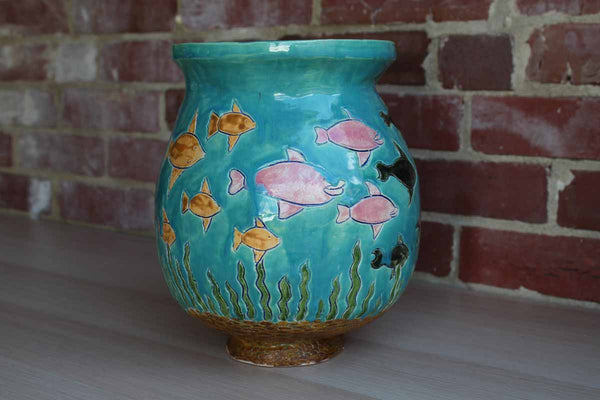 Large Handmade Vase Decorated with Incised Fish and Seaweed