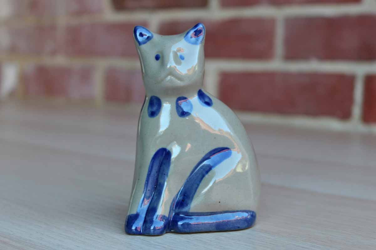 Small Gray and Blue Stoneware Cat Figurine