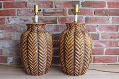 Large Ceramic Table Lamps Shaped Like Woody Pine Cones