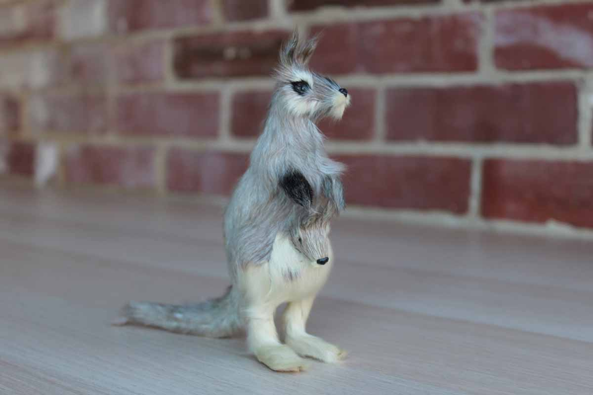 Fur Kangaroo with Baby Joey in Pouch Souvenir from Koala Park, Sydney, Australia