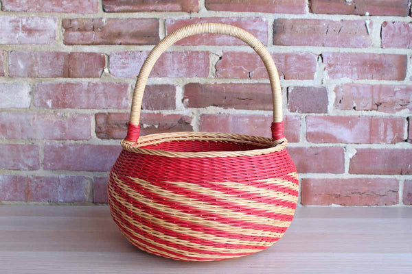 Round Red and Natural Hand Woven Handled Basket