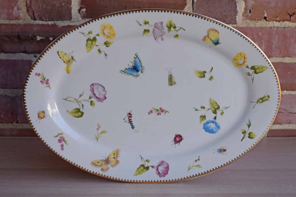Godinger & Co. (USA) Oval Porcelain Dish with Colorful Insects and Flowers
