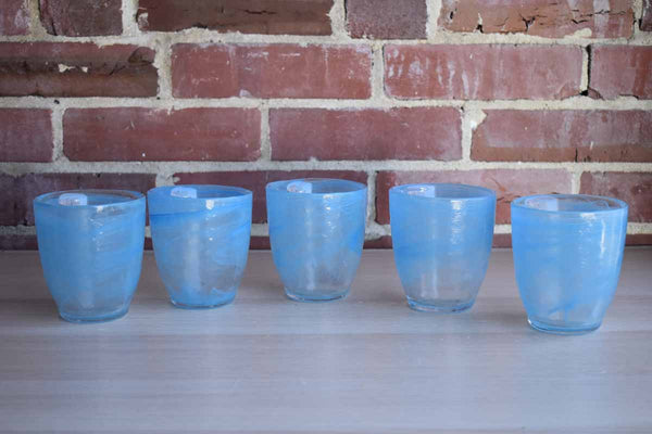 Thick Blue and Clear Glass Tumblers, Set of 5