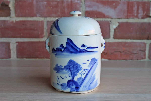 Blue and White Ceramic Lidded Storage Jar Decorated with Simple Landscape Scene