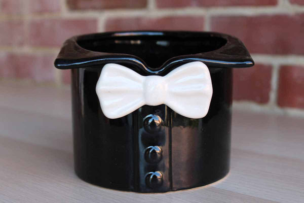 Black and White Ceramic Bowtie Planter
