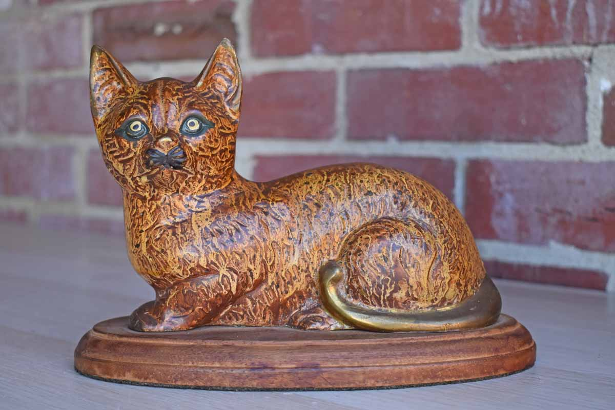 Painted Brass Cat Figurine Mounted to Wood Base