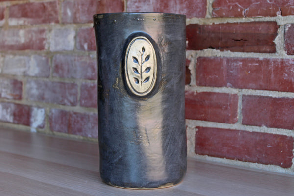 Lostine (Pennsylvania, USA) Tall Cylindral Ceramic Charcoal Gray Vase or Storage Vessel