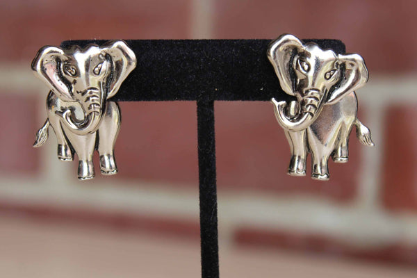 Avon Silver Tone Elephant Pierced Earrings