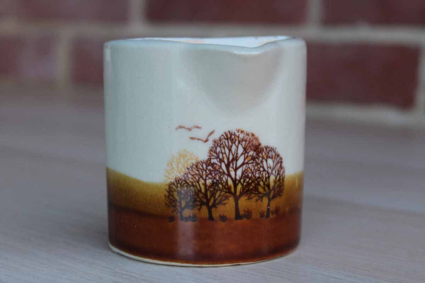 Small Ceramic Cream or Syrup Pitcher with Hand-Painted Trees and Birds