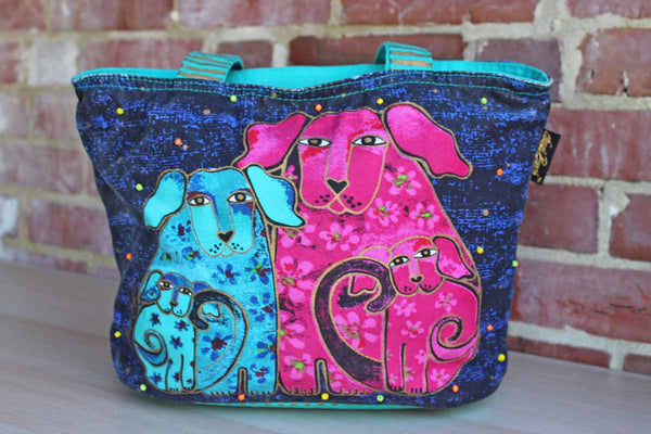 Laurel Burch (California, USA) Zipper Tote Bag with Three Dogs