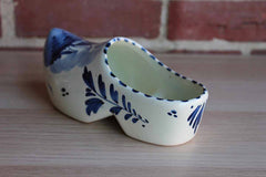 Delft (Holland) Blue and White Ceramic Clog Planter with Flowers and Windmill Design