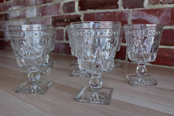 Colony Glass (Connecticut, USA) Park Lane Clear Water Goblets, 8 Pieces