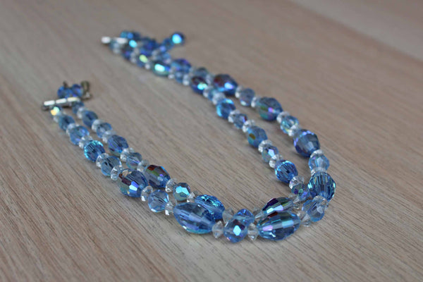 Laguna Jewelry Blue nd Clear Art Glass Double Strand Necklace