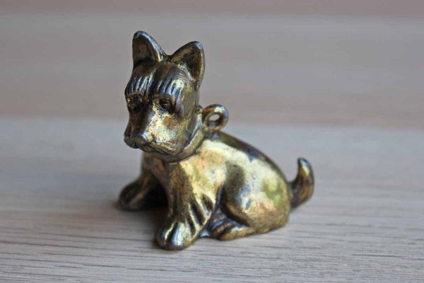Solid Brass Terrier Charm Figurine with Hanging Hole