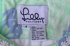 Lilly Pulitzer (USA) Long Cotton Sleeveless Dress with Purple Butterflies and White Flowers