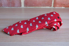 Chippmunk Creations Red Silk Polyester Blend Necktie Featuring Repeating White Sheep Pattern and One Black Sheep