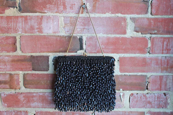 Black Heavily Beaded Evening Purse, Handmade in Hong Kong