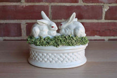 Ceramic Box with Rabbits on a Bed of Green Grass, Made in Italy