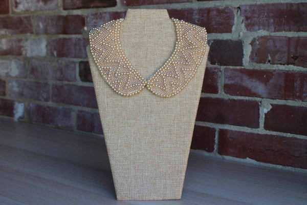 Glentex (Made in Japan) Faux Pearl Beaded Collar with Satin Lining
