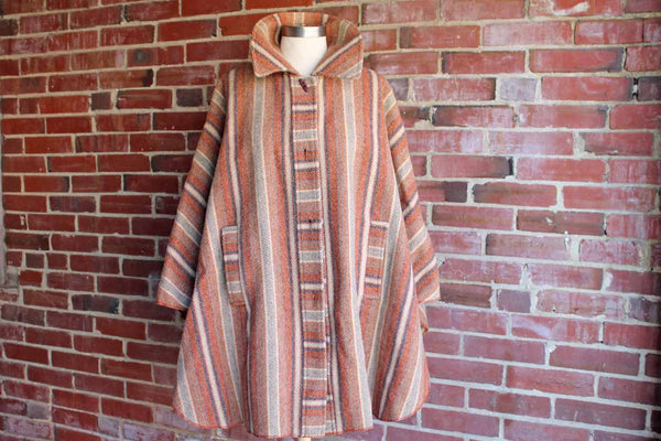 A. Dworkin (Pennsylvania, USA) Swingy Striped Wool Cape with Large Collar