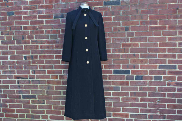A Siari Original (USA) Full Length Black Wool Evening Coat with Rhinestone Buttons