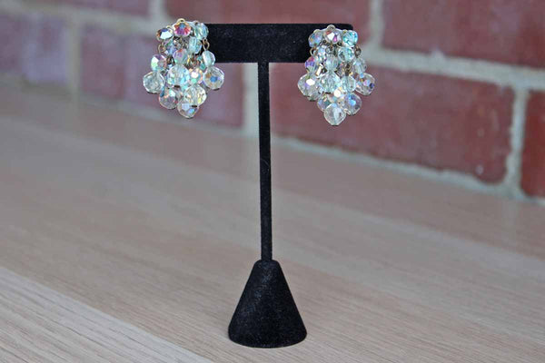 Aurora Borealis Glass Bead Cluster Clip-On Earrings