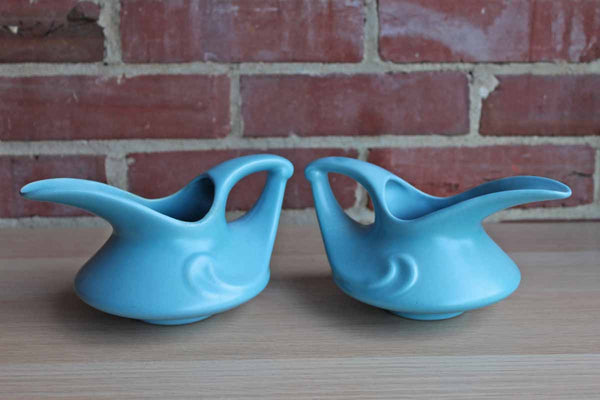 Stangl Pottery (New Jersey, USA) Blue Ceramic Small Handled Pitchers, A Pair