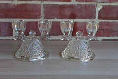 Imperial Glass Company (Ohio, USA) Clear Glass Laced Edge Double Branch Candlesticks, A Pair