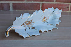 Porcelain and Gold Accented Leaf-Shaped Dish