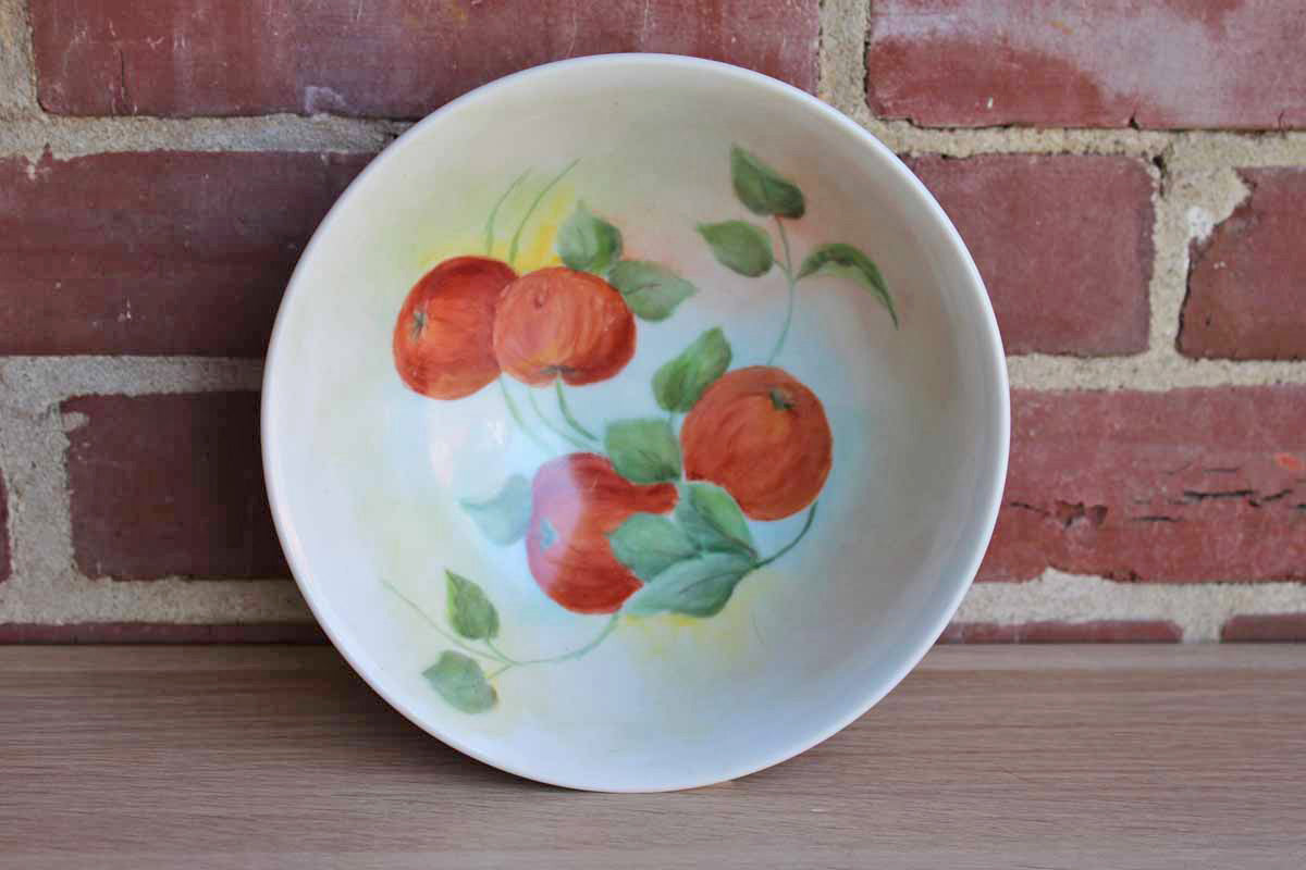Porcelain Bowl with Hand Painted Fruit