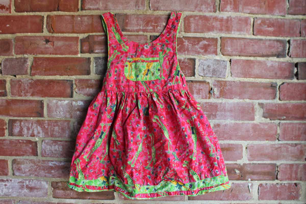 Beetlejuice Brand Apron Dress Decorated with Leap Frogs and Flowers, Childrens Size 2/3