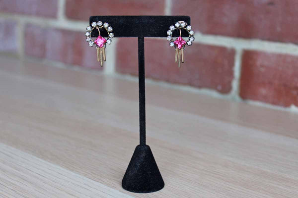Art Deco-Style Pierced Earrings with Pink Rhinestone Surrounded by a Halo of Silver Rhinestones and 3 gold Posts Dropped from the Base