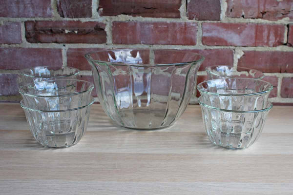 Large Heavy Clear Glass Salad Bowls with Paneled Sides and Gently Flared Rims, Set of 9