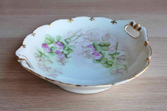 Porcelain Bowl with Scalloped Gold Rim and Hand Painted Pink Flowers
