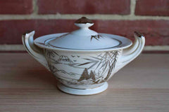 Kutani China (Japan) Sugar Bowl with Hand Painted Silver and White Bamboo and Mountain Scene