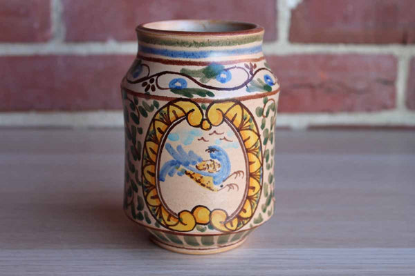 Ceramic Pencil Cup Decorated with Hand-Painted Scrolling Vines and Blue Bird Inside a Cameo