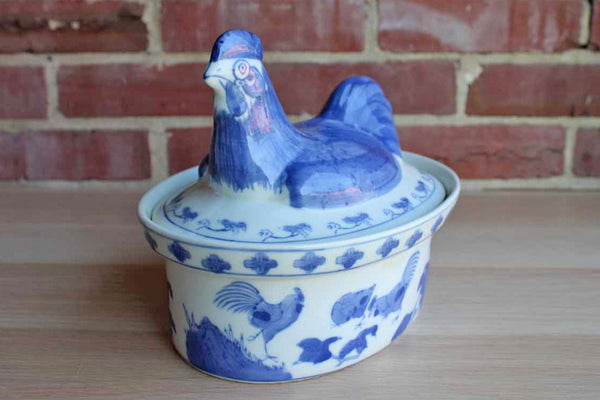 Blue and White Ceramic Hen on Nest Serving Dish