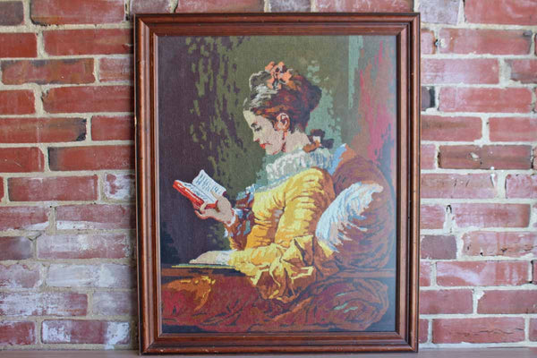 Hand-Stitched Wool Needlepoint of Young Girl Reading by Jean Honoré Fragonard (1769)