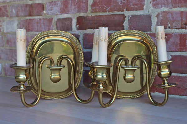 Solid Brass Double Arm Wall Sconces, A Pair
