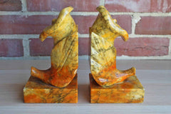 Hand Carved Orange, Red, and Yellow Alabaster Bookends Resembling Calla Lillies, Made in Italy