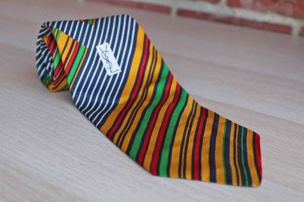 Yves Saint Laurent (Paris New York) 100% Silk Necktie with Colorful Stripes Pattern