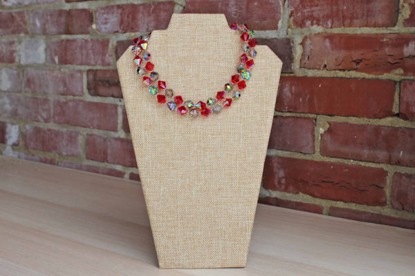 Red and Gray Faceted Crystal Double Strand Necklace