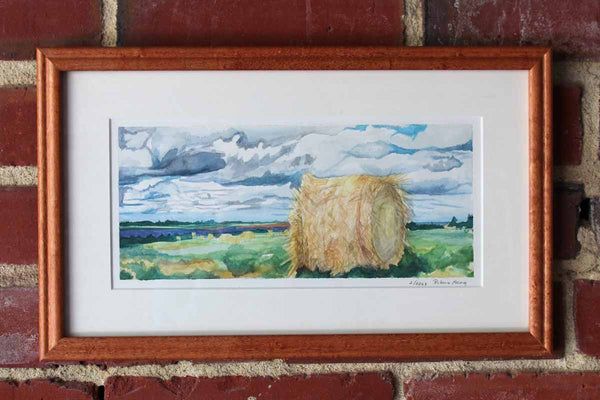Limited Edition Giclee Print of Hay Bales in a Field Under a Partly Cloudy Sky