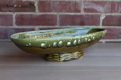 Large Oblong Olive Green Footed Planter