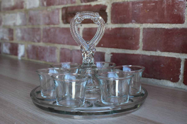 Pressed Clear Glass Tidbit or Condiment Tray with Ornate Handle