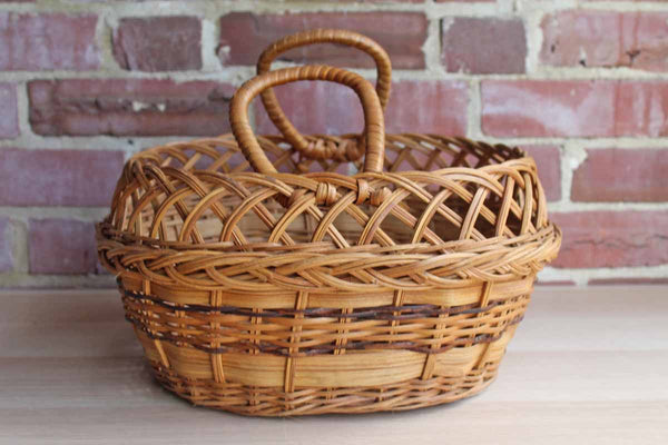 Woven Stake and Strand Reed Basket with Unique Patterns