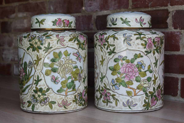 Large Cylindrical Ginger Jars Decorated with Birds and Flowers, A Pair